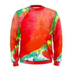 Lovely Red Poppy And Blue Dots Men s Sweatshirt