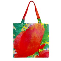 Lovely Red Poppy And Blue Dots Zipper Grocery Tote Bag
