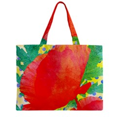 Lovely Red Poppy And Blue Dots Zipper Mini Tote Bag