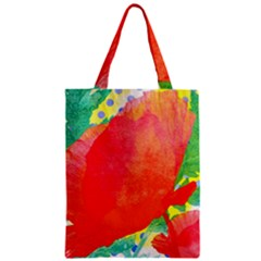 Lovely Red Poppy And Blue Dots Zipper Classic Tote Bag