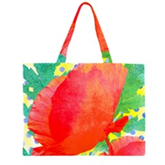 Lovely Red Poppy And Blue Dots Zipper Large Tote Bag by DanaeStudio