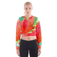 Lovely Red Poppy And Blue Dots Women s Cropped Sweatshirt by DanaeStudio