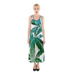 Pachira Leaves  Sleeveless Maxi Dress