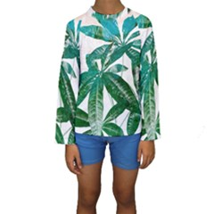 Pachira Leaves  Kids  Long Sleeve Swimwear
