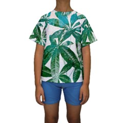 Pachira Leaves  Kids  Short Sleeve Swimwear