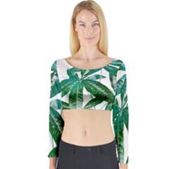 Pachira Leaves  Long Sleeve Crop Top