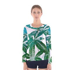Pachira Leaves  Women s Long Sleeve Tee