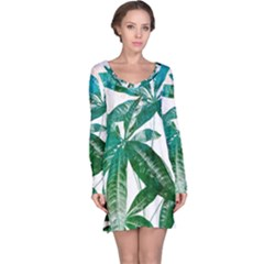 Pachira Leaves  Long Sleeve Nightdress
