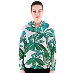 Pachira Leaves  Women s Zipper Hoodie