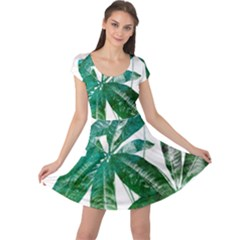 Pachira Leaves  Cap Sleeve Dresses