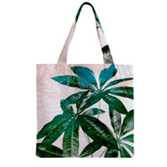 Pachira Leaves  Zipper Grocery Tote Bag
