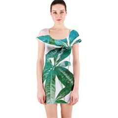 Pachira Leaves  Short Sleeve Bodycon Dress