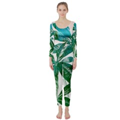 Pachira Leaves  Long Sleeve Catsuit