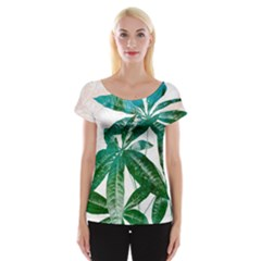 Pachira Leaves  Women s Cap Sleeve Top