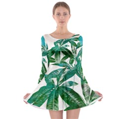 Pachira Leaves  Long Sleeve Skater Dress by DanaeStudio