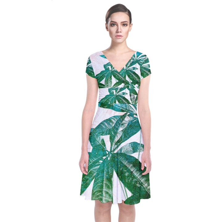 Pachira Leaves  Short Sleeve Front Wrap Dress