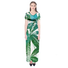 Pachira Leaves  Short Sleeve Maxi Dress
