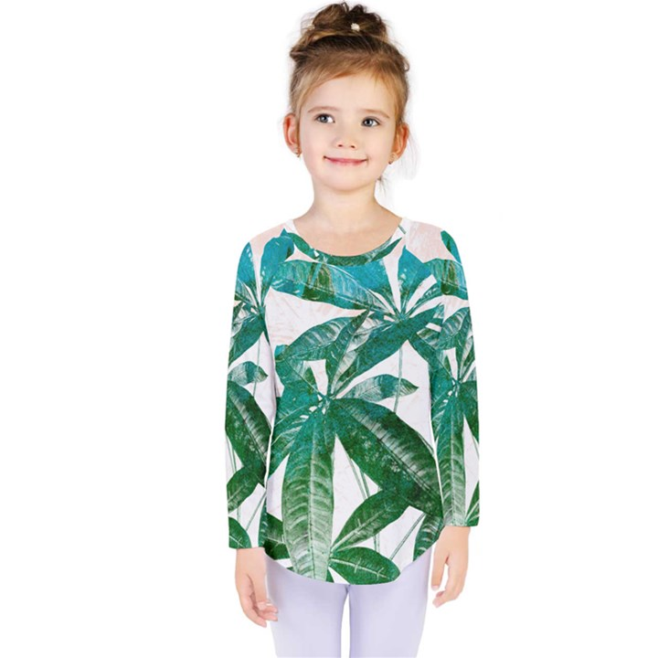 Pachira Leaves  Kids  Long Sleeve Tee