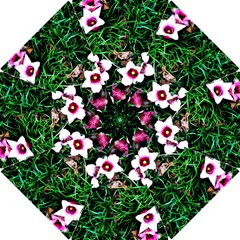 Pink Flowers Over A Green Grass Hook Handle Umbrellas (small)