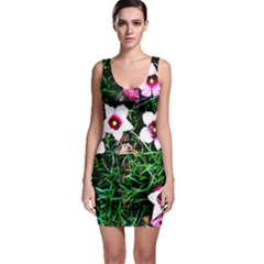 Pink Flowers Over A Green Grass Sleeveless Bodycon Dress