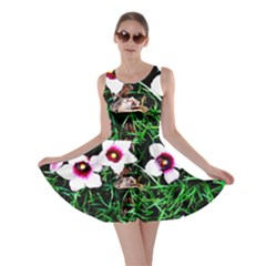 Pink Flowers Over A Green Grass Skater Dress