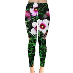 Pink Flowers Over A Green Grass Leggings