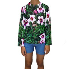 Pink Flowers Over A Green Grass Kids  Long Sleeve Swimwear