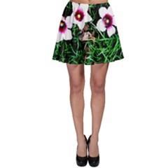 Pink Flowers Over A Green Grass Skater Skirt