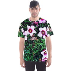 Pink Flowers Over A Green Grass Men s Sport Mesh Tee