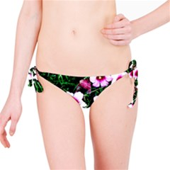 Pink Flowers Over A Green Grass Bikini Bottom