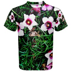 Pink Flowers Over A Green Grass Men s Cotton Tee