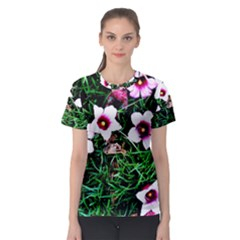 Pink Flowers Over A Green Grass Women s Sport Mesh Tee