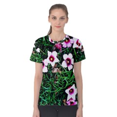 Pink Flowers Over A Green Grass Women s Cotton Tee