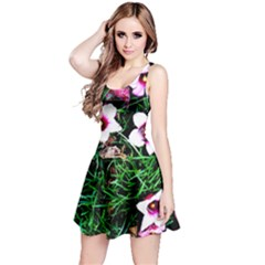 Pink Flowers Over A Green Grass Reversible Sleeveless Dress