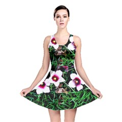 Pink Flowers Over A Green Grass Reversible Skater Dress