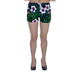 Pink Flowers Over A Green Grass Skinny Shorts