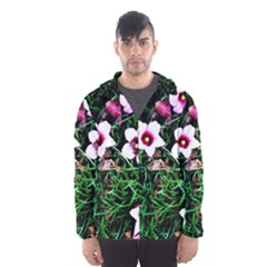 Pink Flowers Over A Green Grass Hooded Wind Breaker (men)