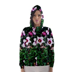 Pink Flowers Over A Green Grass Hooded Wind Breaker (women)