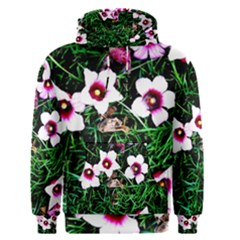 Pink Flowers Over A Green Grass Men s Pullover Hoodie