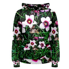 Pink Flowers Over A Green Grass Women s Pullover Hoodie