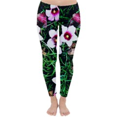 Pink Flowers Over A Green Grass Classic Winter Leggings