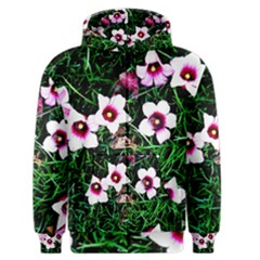 Pink Flowers Over A Green Grass Men s Zipper Hoodie