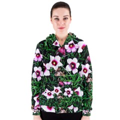 Pink Flowers Over A Green Grass Women s Zipper Hoodie