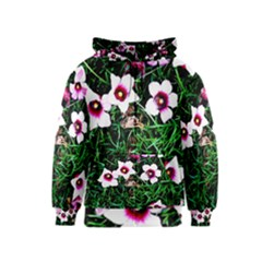 Pink Flowers Over A Green Grass Kids  Zipper Hoodie