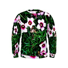 Pink Flowers Over A Green Grass Kids  Sweatshirt by DanaeStudio