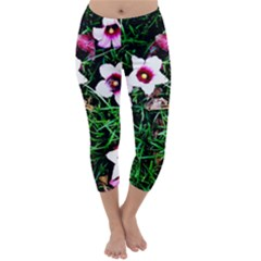 Pink Flowers Over A Green Grass Capri Winter Leggings