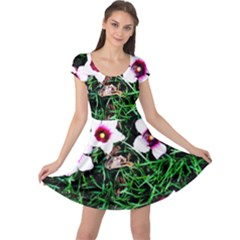 Pink Flowers Over A Green Grass Cap Sleeve Dresses