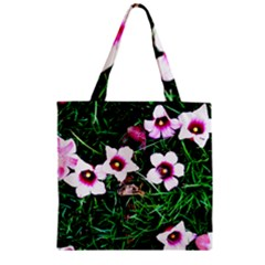 Pink Flowers Over A Green Grass Zipper Grocery Tote Bag