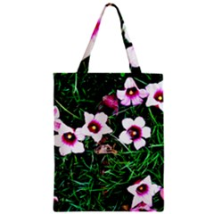 Pink Flowers Over A Green Grass Zipper Classic Tote Bag