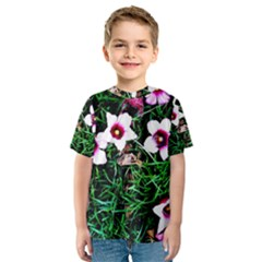Pink Flowers Over A Green Grass Kids  Sport Mesh Tee
